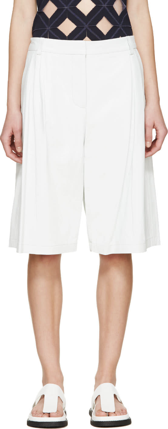 T By Alexander Wang White Matte Leather Wide Leg Shorts