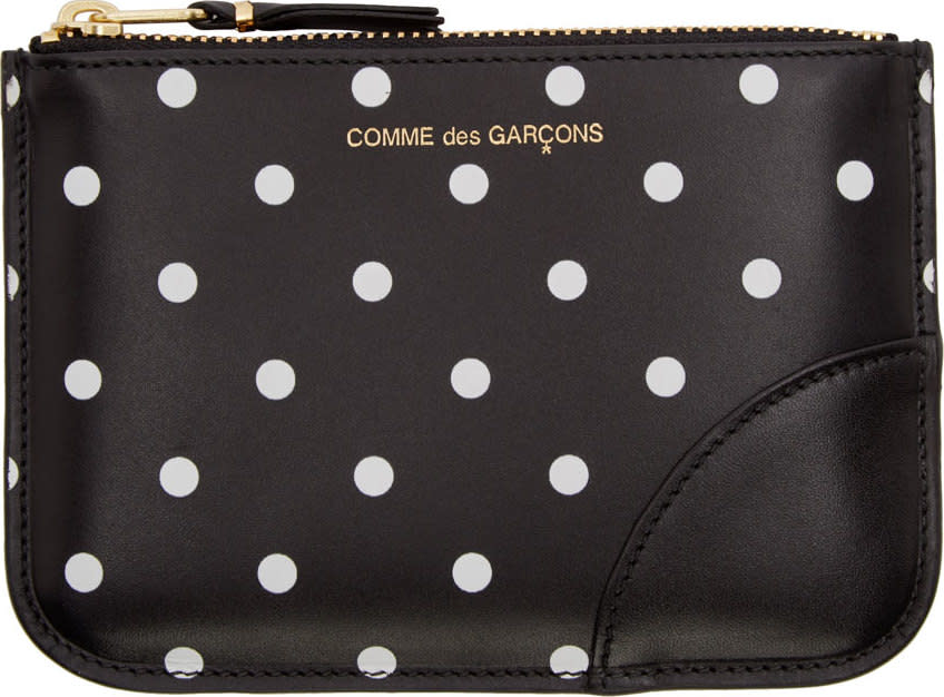 Image of Comme Des Garçons Wallets Black and White Dot Print Coin Pouch