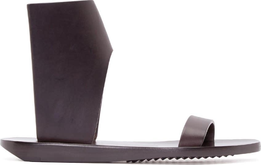 Rick Owens Dark Brown Structured Leather Sandals