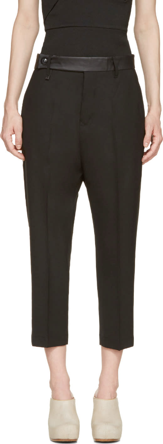 Rick Owens Black Leather Trim Cropped Trousers