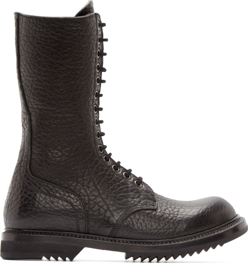 Rick Owens Black Grained Leather Army Sole Boots