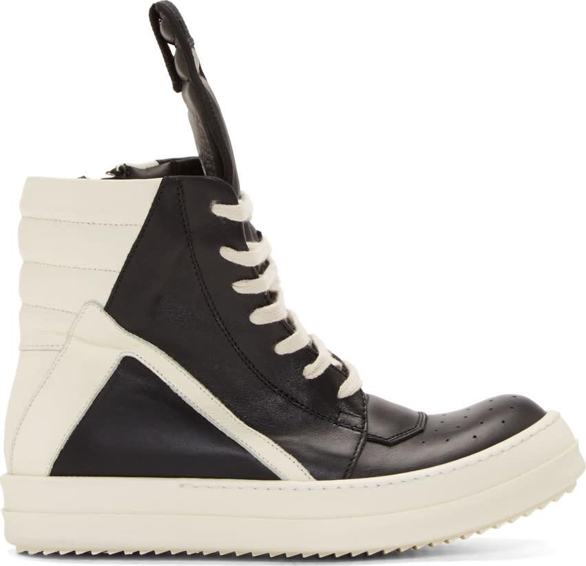 Rick OwensBlack and White Geobasket High-top Sneakers