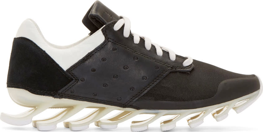 Rick Owens Black and White Adidas By Rick Owens Blade Low Sneakers