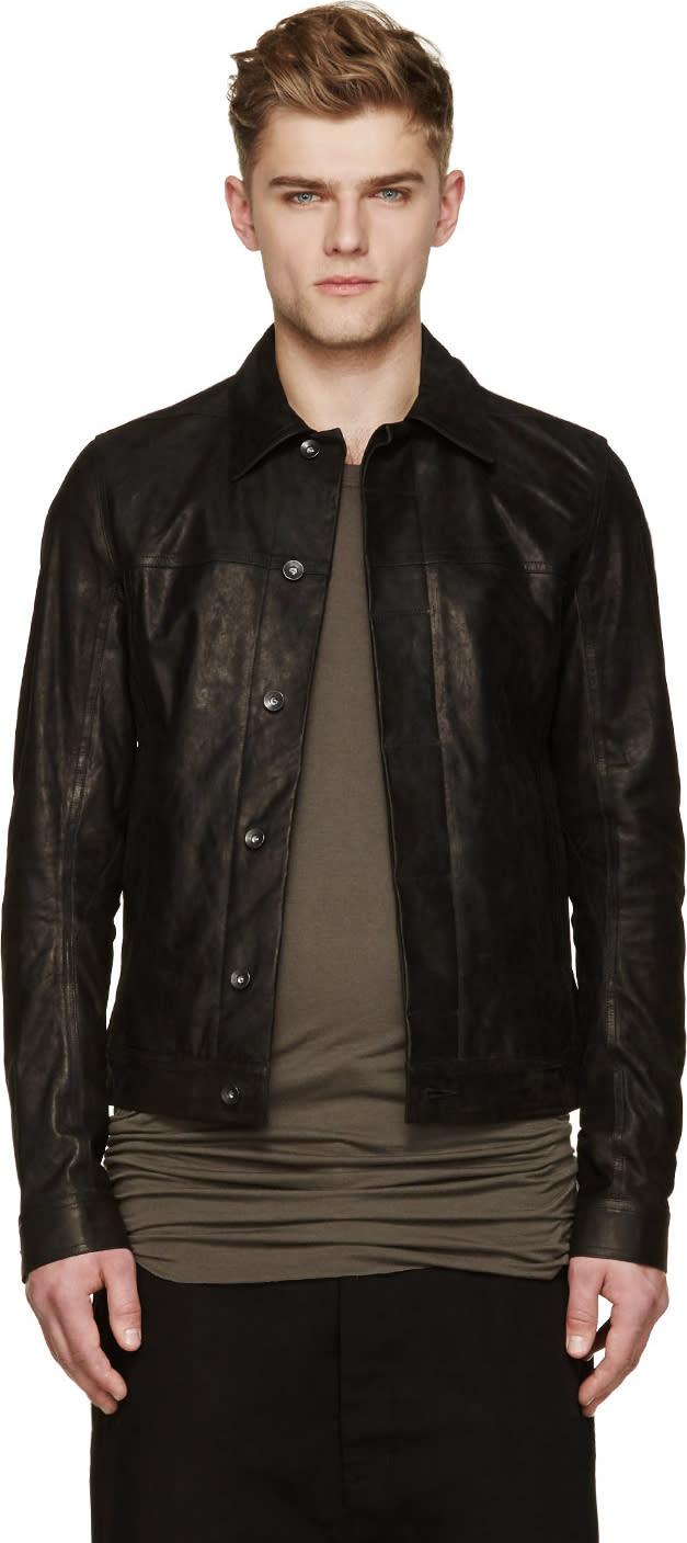 Rick Owens Black Brushed Leather Worker Jacket