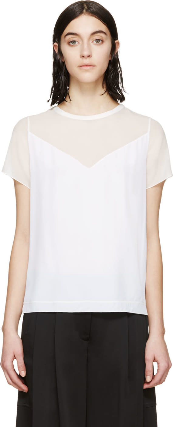 Viktor and Rolf White Crepe Draping Blouse