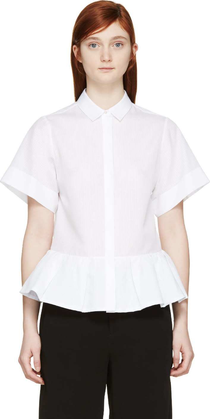 Viktor and Rolf White Striped Peoplum Blouse