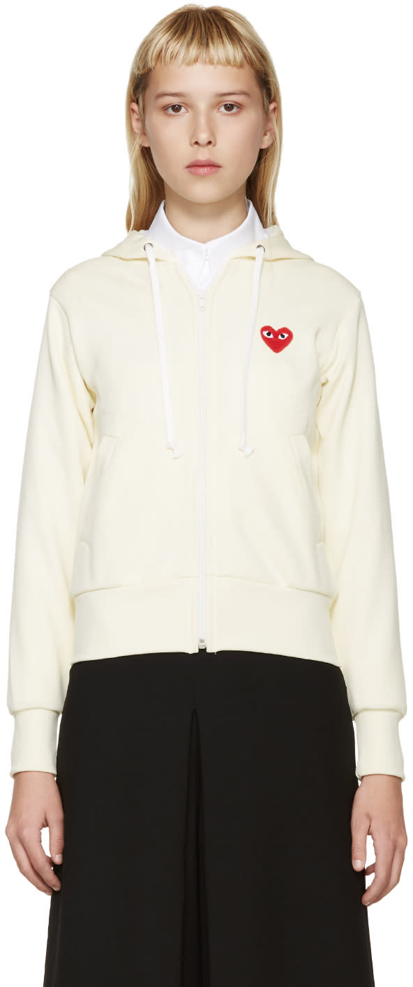 Comme Des Garcons Play Cream Logo Patch Hoodie