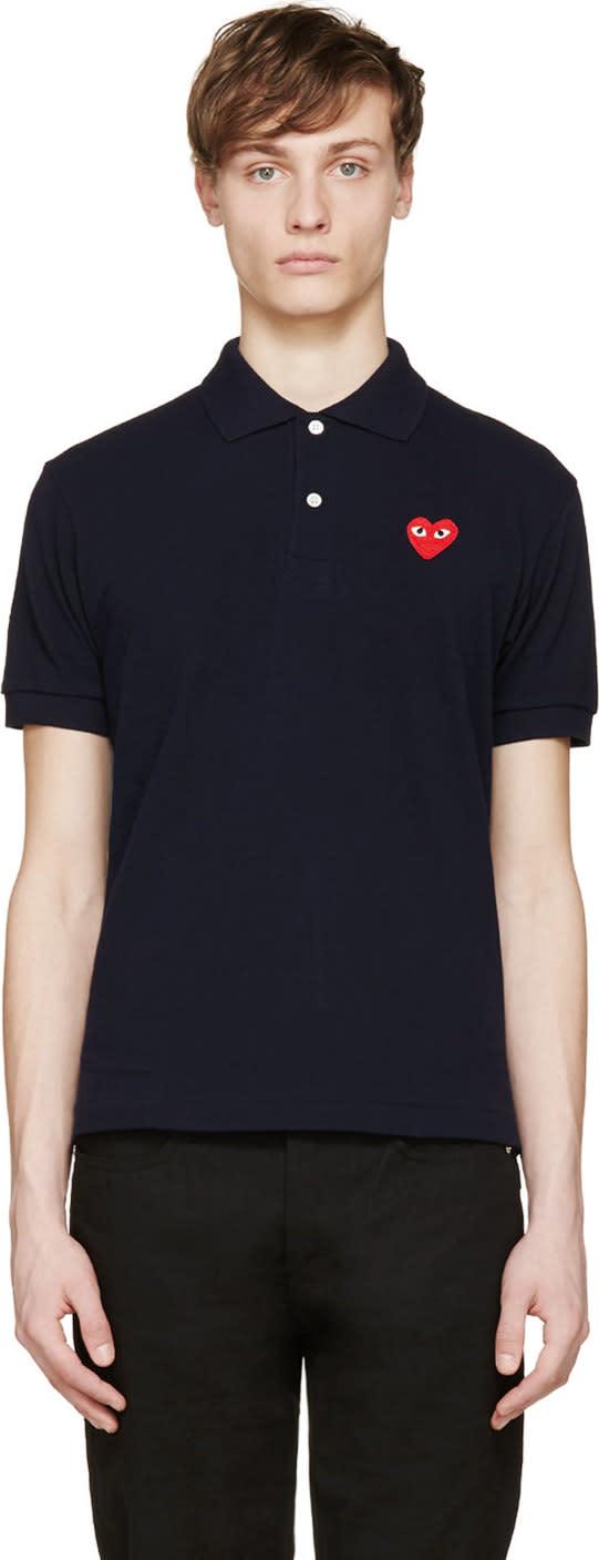 Comme Des Garçons Play Navy Logo Appliqué Polo