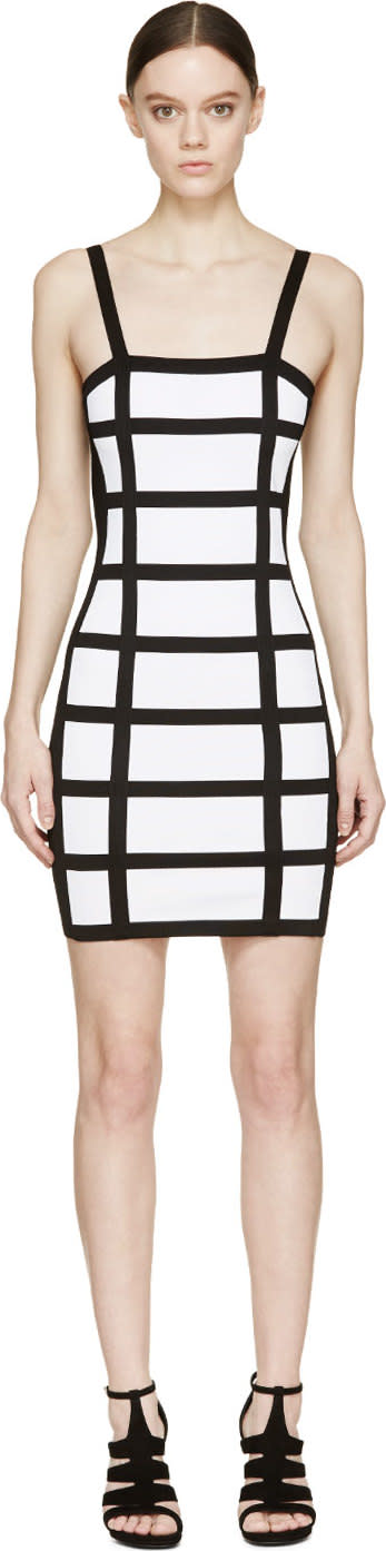 Balmain Black and White Grid Dress
