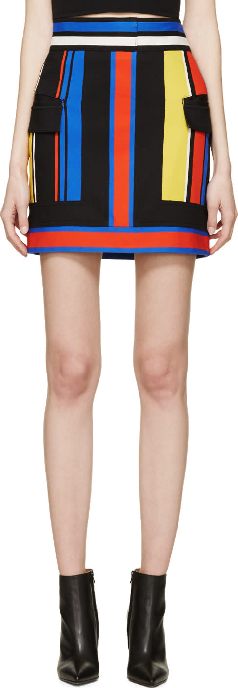 Balmain Black Colorblocked Skirt