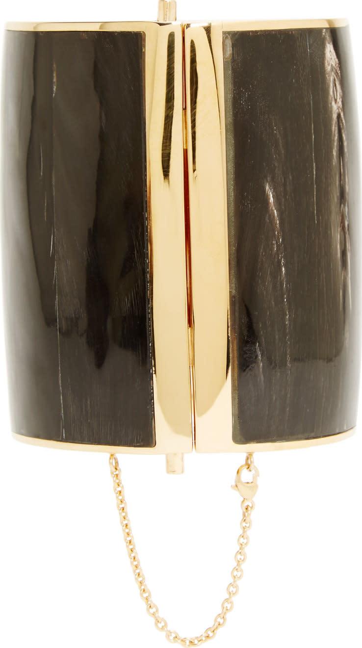 Balmain Black Inset Horn Cuff
