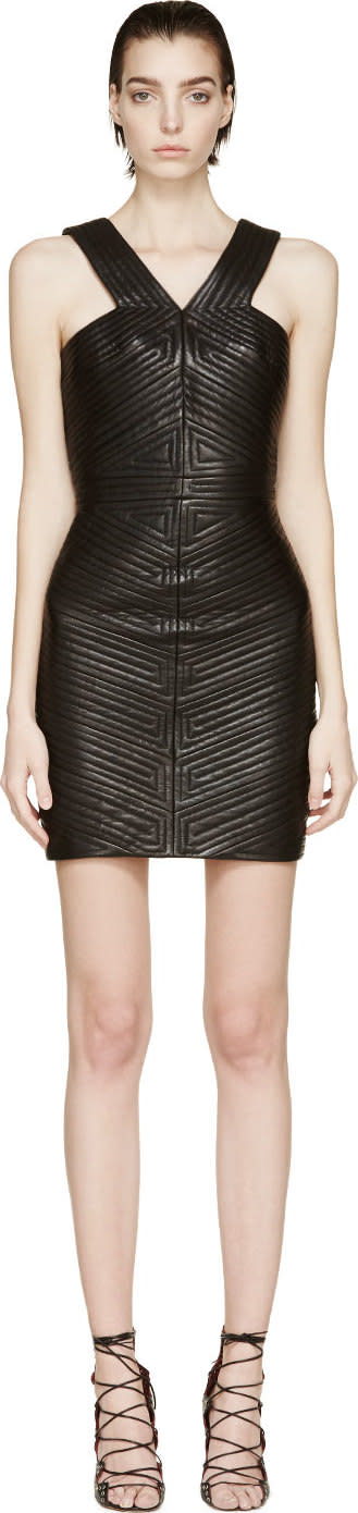 Balmain Black Leather Quilted Dress