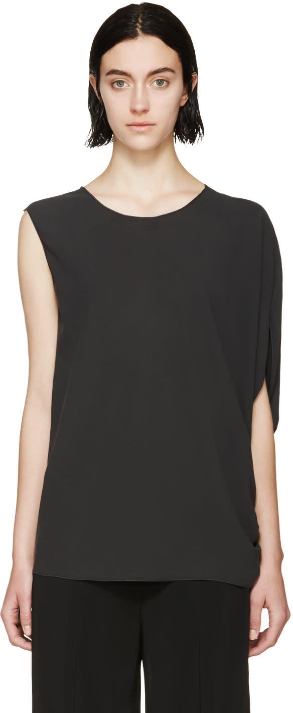 Lanvin Charcoal Silk Asymmetric Top