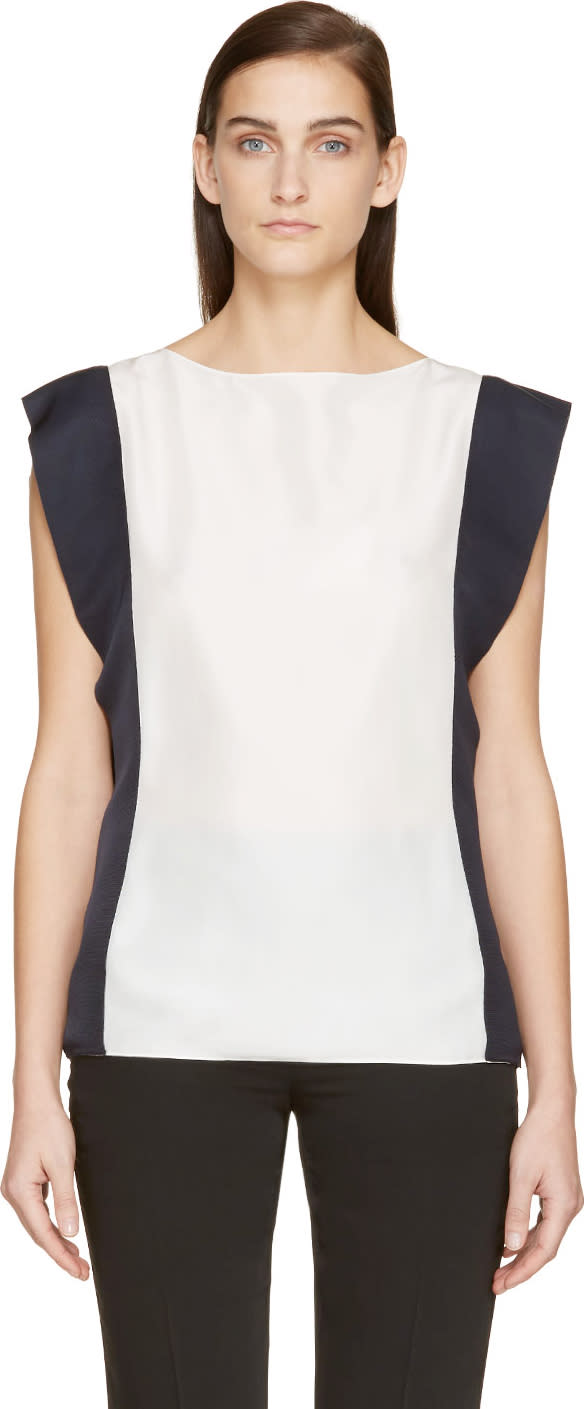 Lanvin White and Navy Silk Blouse at SSENSE