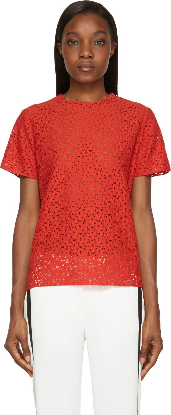 Lanvin Red Lace Poppy Blouse