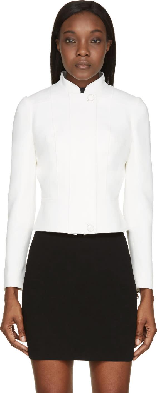 Alexander Mcqueen Ivory High Collar Structured Jacket