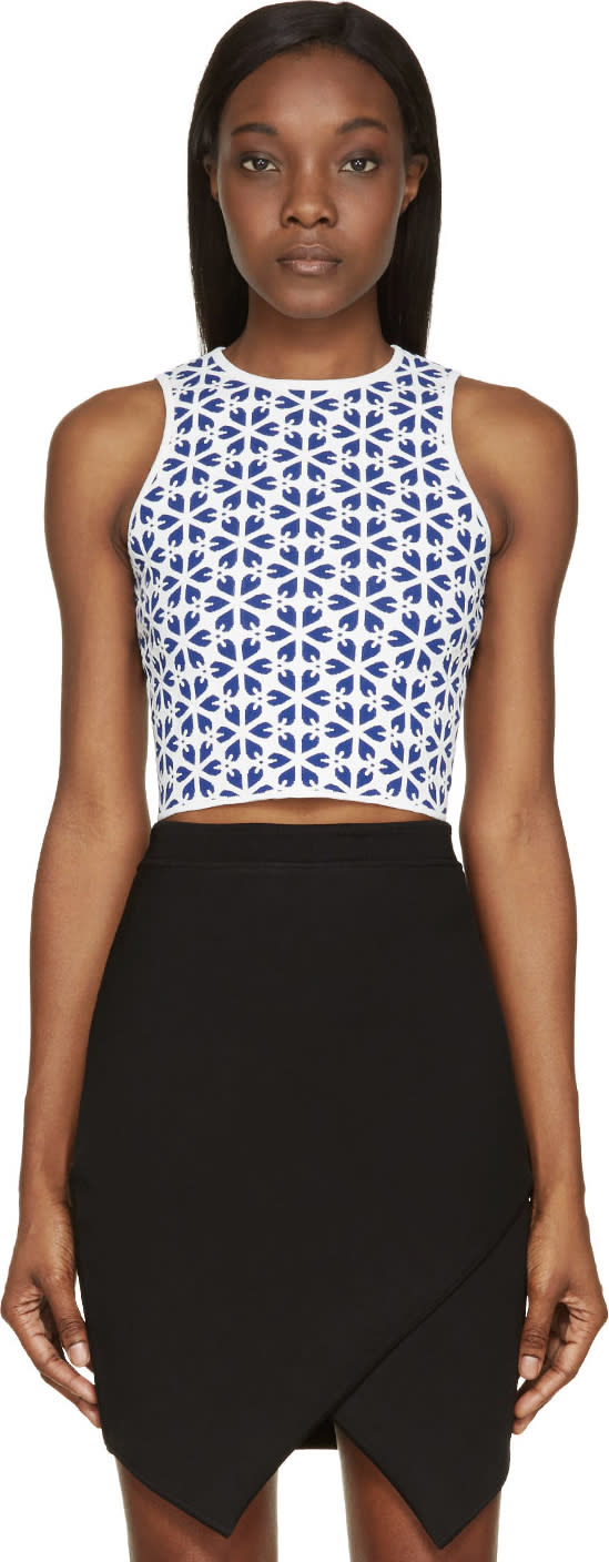 Alexander Mcqueen Blue and White Floral Knit Cropped Top