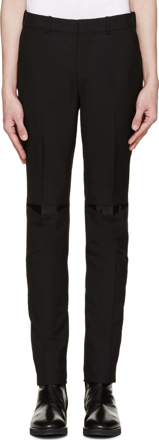 Alexander Mcqueen Black Vinyl Patch Trousers