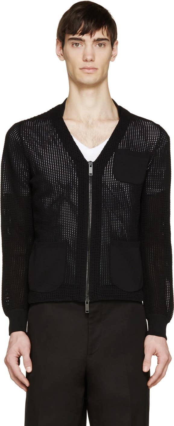 Alexander Mcqueen Black Knit V-neck Zip Cardigan