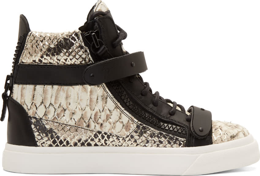 Giuseppe Zanotti Black and Silver Printed Snake London Berdyk Sneakers