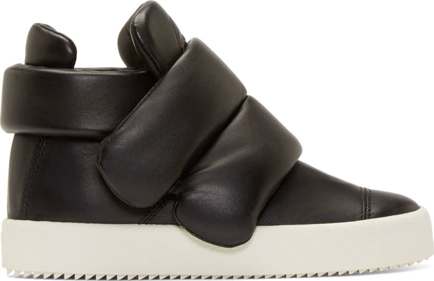 Giuseppe Zanotti Black Leather Padded London Lounge Sneakers