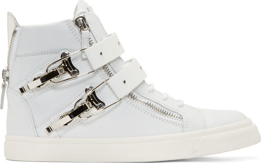 Giuseppe Zanotti White Leather Buckled London High-top Sneakers