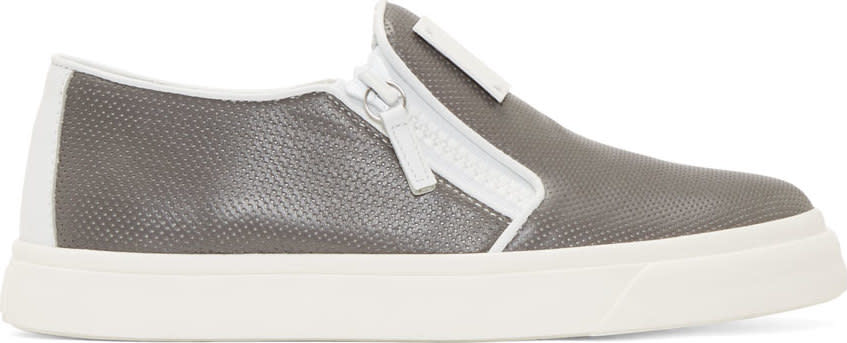 Giuseppe Zanotti Grey Perforated London Slip-on Sneakers