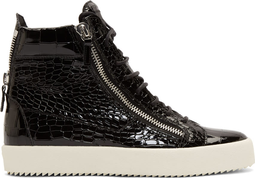 Giuseppe Zanotti Black Patent Croc-embossed London High-top Sneakers