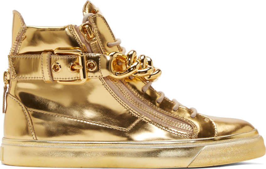 Giuseppe Zanotti Gold Mirrored Leather London High-tops