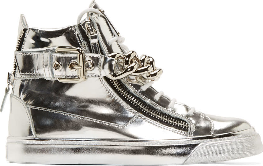 Giuseppe Zanotti Silver Mirrored Leather London High-top Sneakers