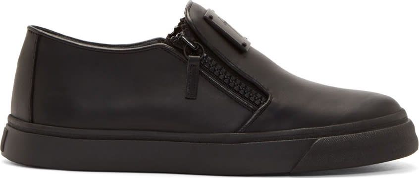 Giuseppe Zanotti Black Leather Slip-on Shoes