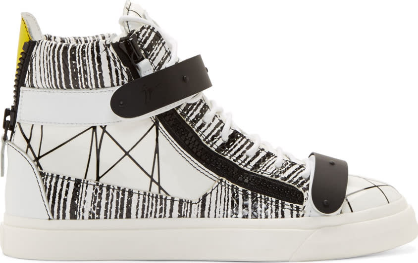 Giuseppe Zanotti White Abstract Print High-top Sneakers
