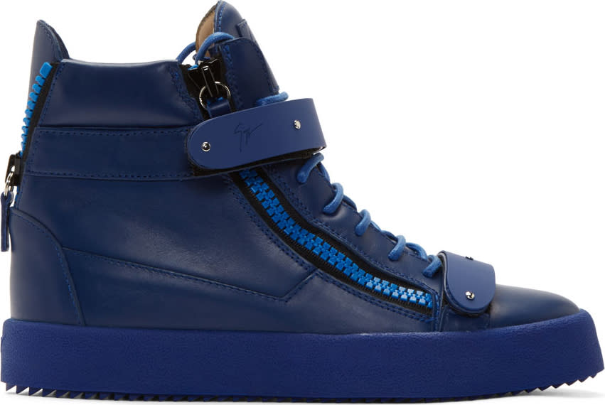Giuseppe Zanotti Blue Leather London Praga High-top Sneakers