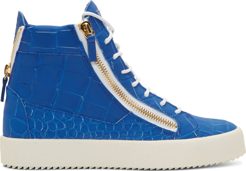 Giuseppe Zanotti Blue Croc-embossed High-top London Sombry Sneakers