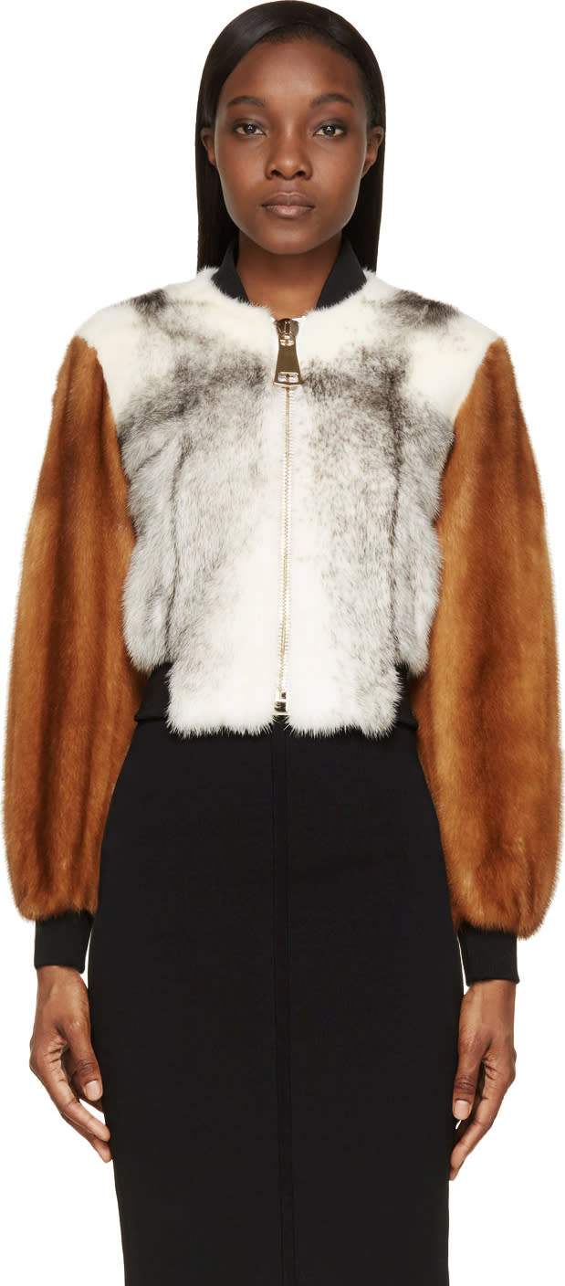 Givenchy Grey and Brown Mink Fur Bomber