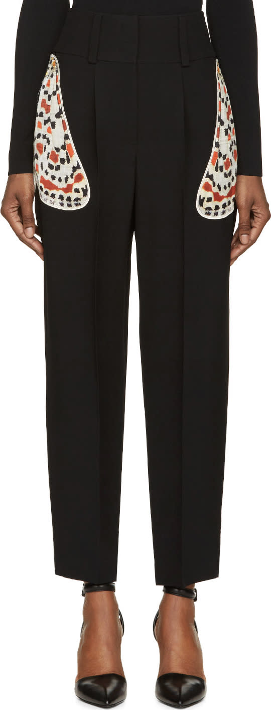 Givenchy Black Crepe Moth Wing Applique Trousers