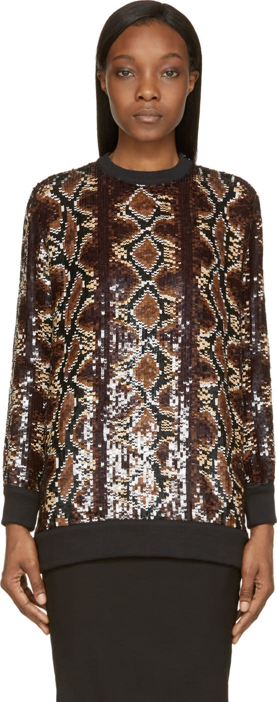 Givenchy Brown Sequinned Python Sweatshirt