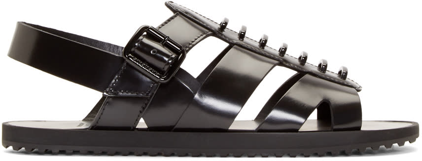 Givenchy Black Leather Tornado Sandals