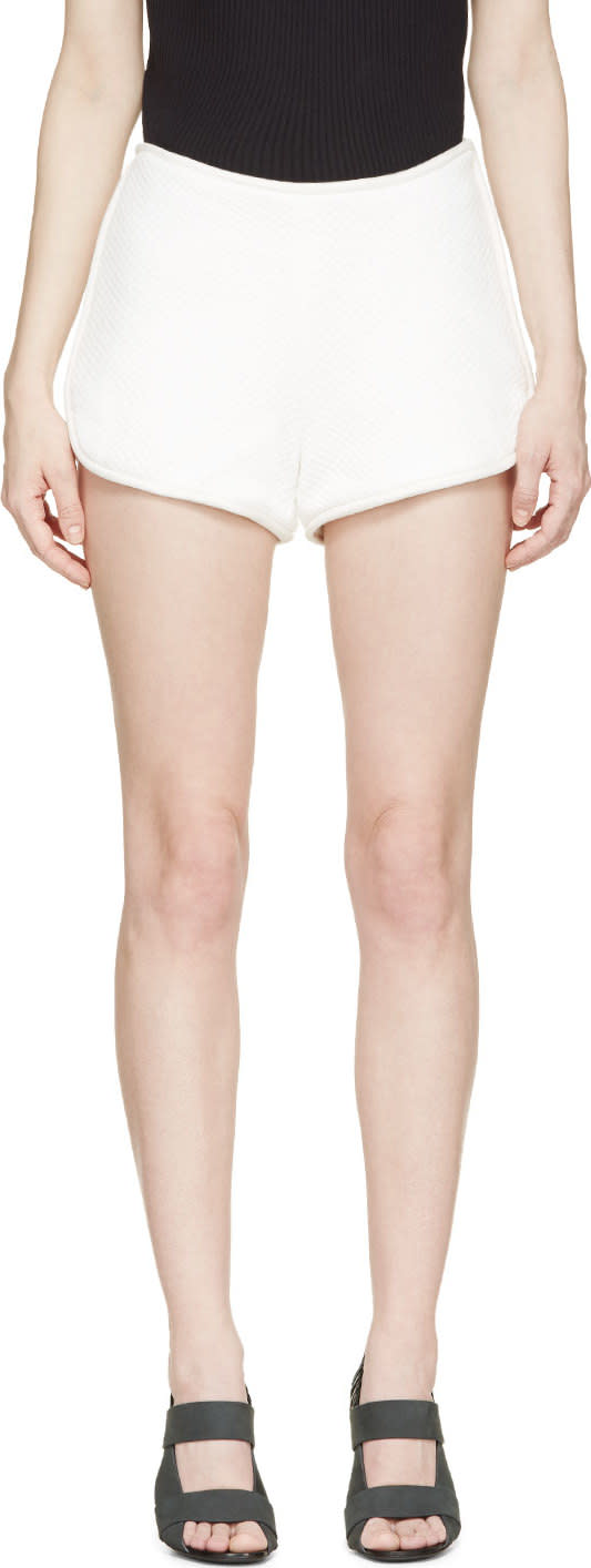 3.1 Phillip Lim White Quilted Track Shorts at SSENSE