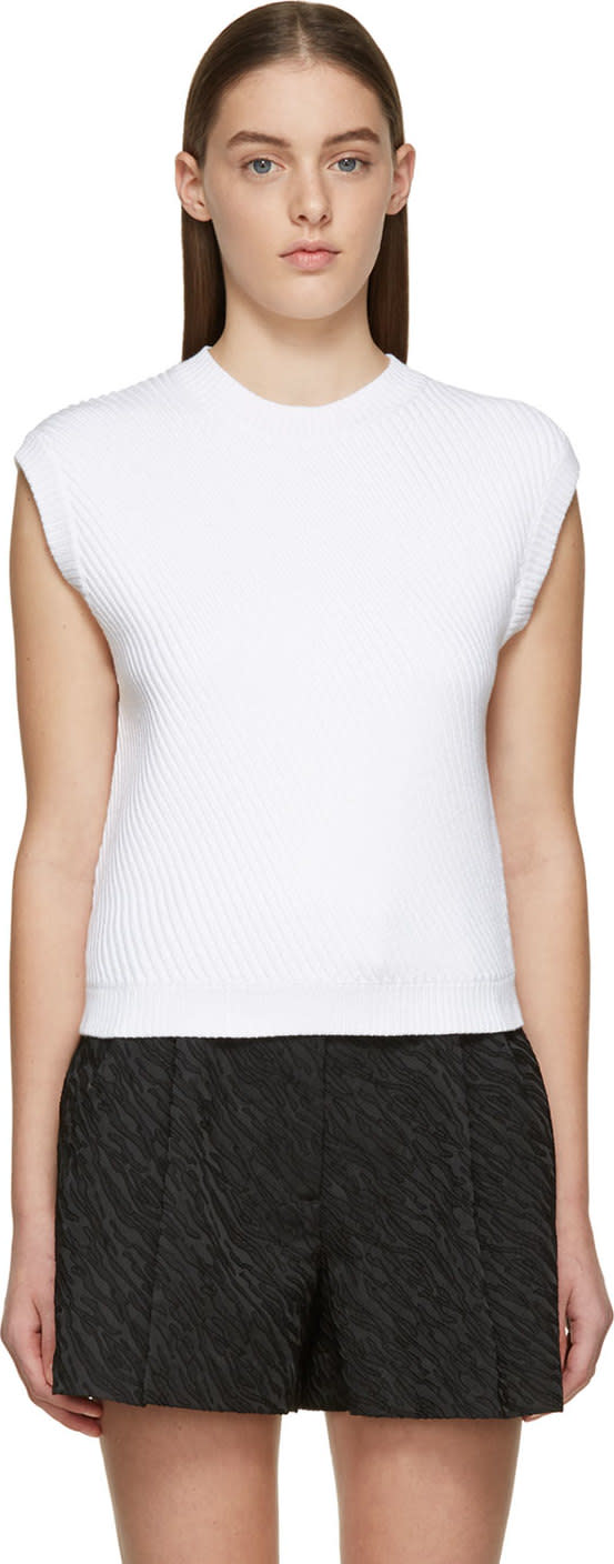 3.1 Phillip Lim White Ribbed Knit Cap Sleeve Crewneck