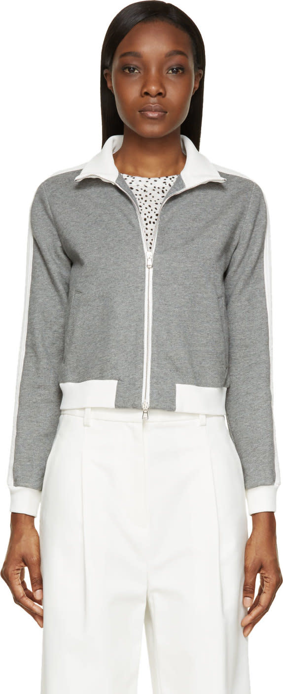 3.1 Phillip Lim Grey and White French Terry Trapunto Sweater