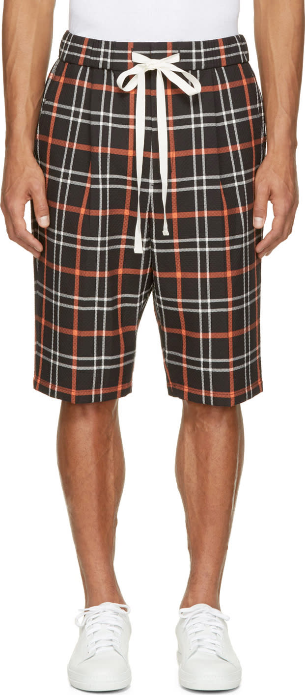 3.1 Phillip Lim Orange and Black Plaid Quilted Shorts
