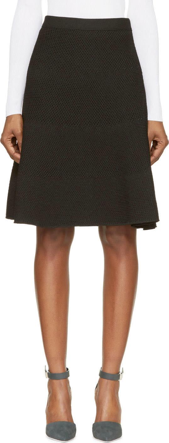 Proenza Schouler Black Technical Honeycomb Knit Skirt