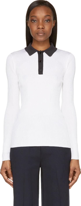 Proenza Schouler White Silk Contrast Collar Long Sleeve Polo