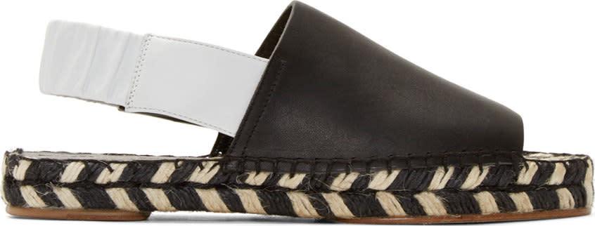 Proenza Schouler Black Leather Slingback Espadrilles