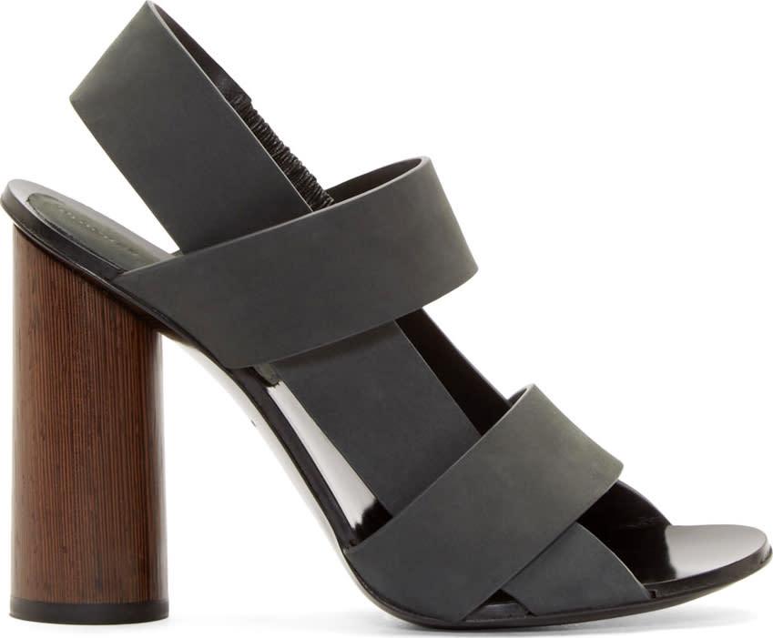 Proenza Schouler Grey Suede Slingback Sandals