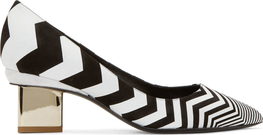 Nicholas Kirkwood Black Chevron Triangle Pumps