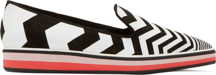 Nicholas Kirkwood Black and White Chevron Loafers