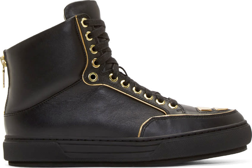 Alejandro Ingelmo Black Leather Gold Trimmed Jeddi High-tops