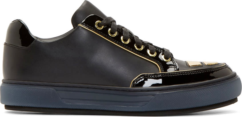 Alejandro Ingelmo Black Leather Gold Trimmed Jeddi Sneakers